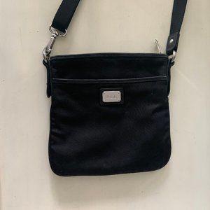 Nylon Cross-Body Bag w Real Leather Trim & Silver